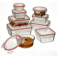 GLASSLOCK 9 PIECE TEMPERED GLASS FOOD CONTAINER OVEN SAFE SET