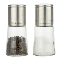 COLE & MASON SALT AND PEPPER MILLS - CLIFTON GLASS