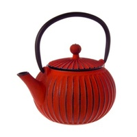 TEAOLOGY CAST IRON TEAPOT - RIBBED RED 500ml