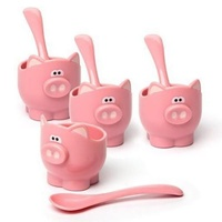 JOIE MSC OINK OINK EGG CUPS AND SPOONS - SET OF 4