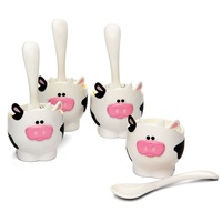 JOIE MSC MOO MOO EGG CUPS AND SPOONS - SET OF 4