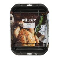 WILTSHIRE NON STICK DEEP ROAST PAN WITH RACK 32 x 25cm
