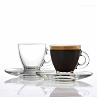CLASSICA AURORA SET 6 GLASS CUPS AND SAUCERS 255ml
