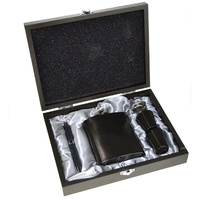 HIP FLASK GIFT BOXED SET - STAINLESS STEEL - GUN METAL GREY