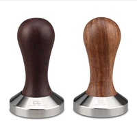 COFFEE CULTURE 58mm STAINLESS STEEL COFFEE TAMPER - WOOD HANDLE