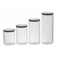 DAVIS & WADDELL SET 4 GLASS STORAGE JARS