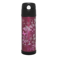 THERMOS 530ml STAINLESS STEEL VACUUM HYDRATION BOTTLE - FLORAL MAGENTA