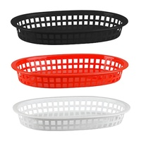 PLASTIC OVAL BREAD BASKET LARGE - 27 x 18cm SET 12